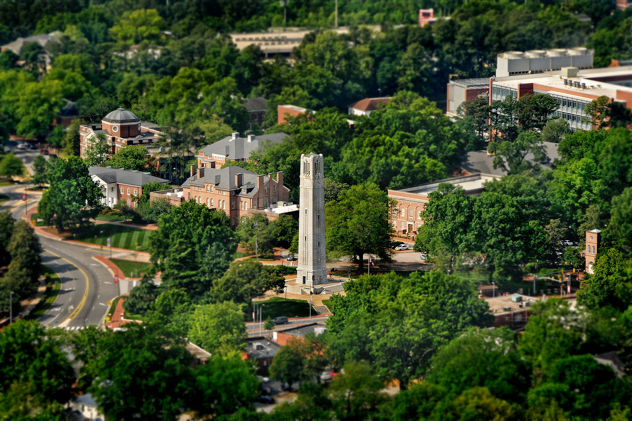 Beautiful photo of the North Carolina State University Campus with buildings (NC State)