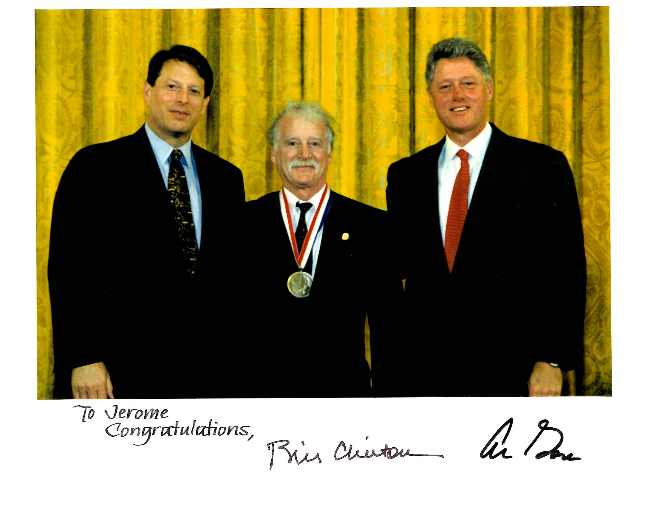 Dr. Jerry Cuomo getting the National Medal of Technology award from President Bill Clinton and Vice President Al Gore